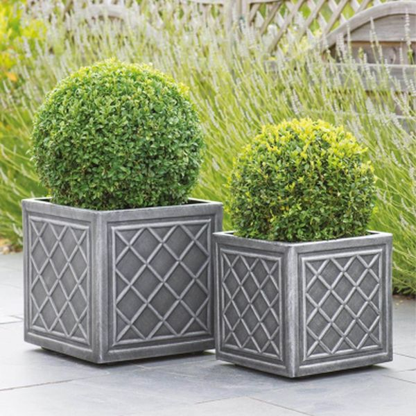 38cm Square Lead Effect Planter