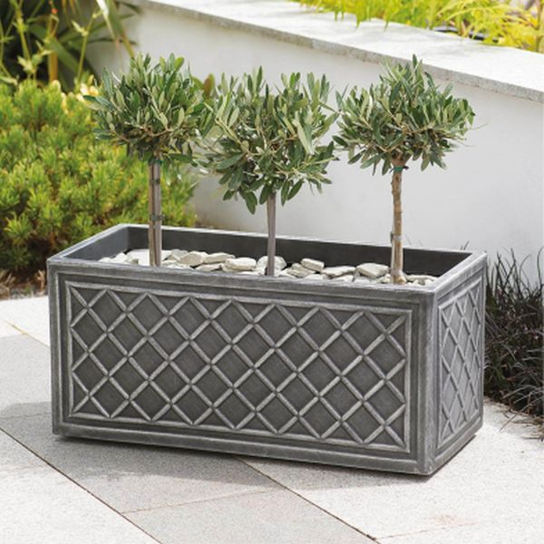 70cm Trough Lead Effect Planter