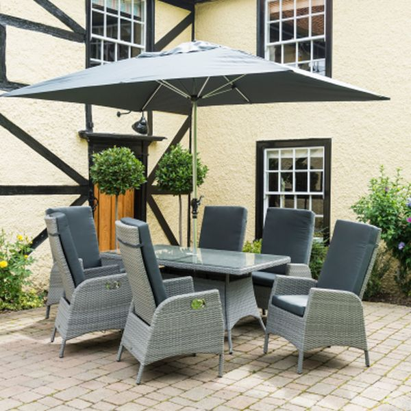 Chatsworth Reclining 6 Seater Set - Stone Grey