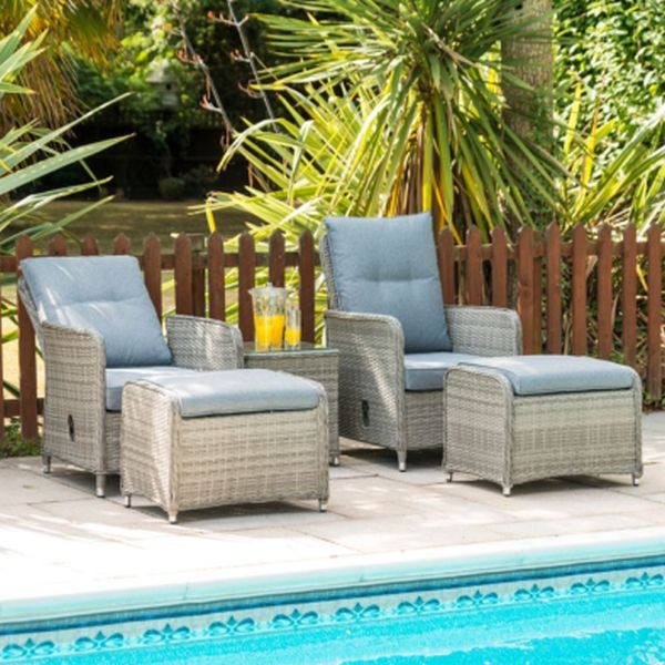 Milan Lounger Set with 2 Armchairs - Grey