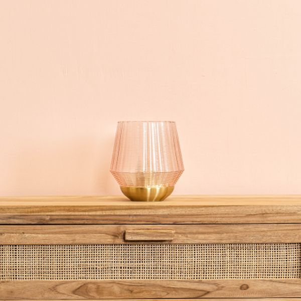 Gold and pink glass candle holder