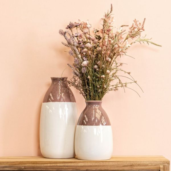 Reactive Glaze Pink & White Vase Small