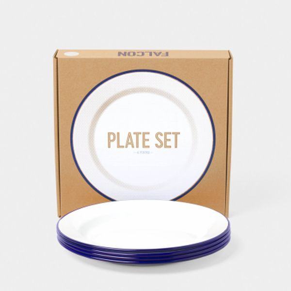 24cm Plates - White with Blue rim