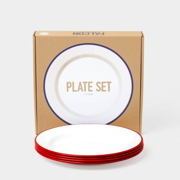 24cm Plates - White with Pillarbox Red
