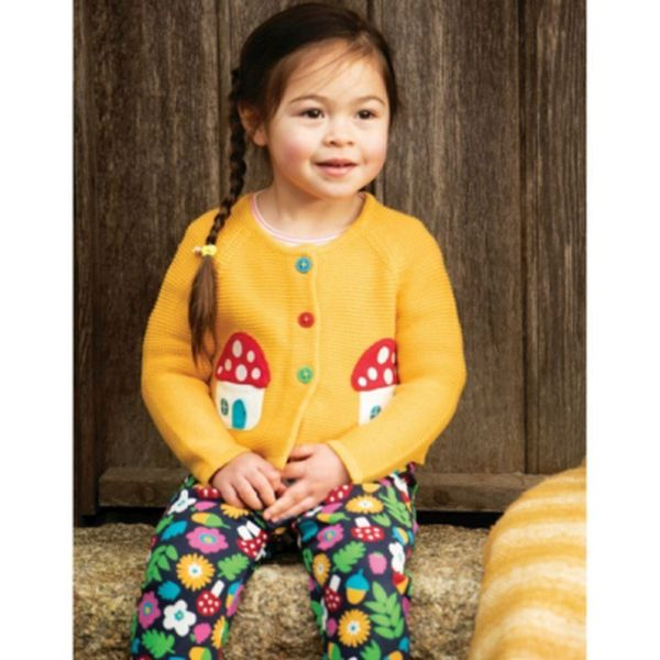 Little Annie Applique Cardigan, Bumble Bee/Mushroom, 0-3m
