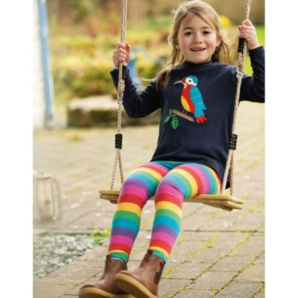Libby Striped Leggings, Foxglove Rainbow Stripe, 3-6m