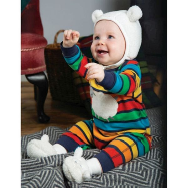 Charlie Romper, Bumble Rainbow Stripe/Sheep, NB