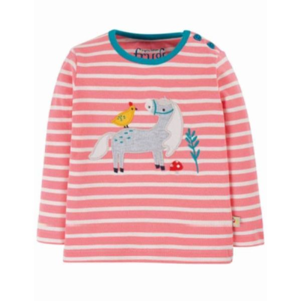 Button Applique Top,  Guava Pink Stripe/Horse, 0-3m