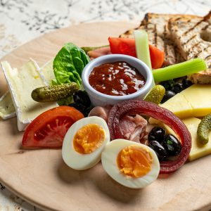 A ploughman's lunch on a platter at Yarnton Home & Garden