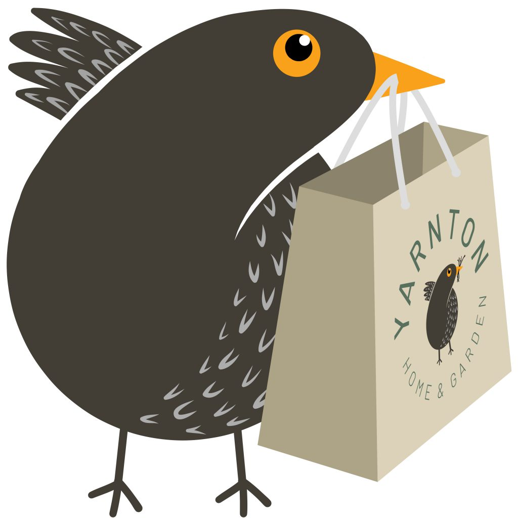 Illustration of Twiggy the blackbird carrying a Yarnton bag in its beak