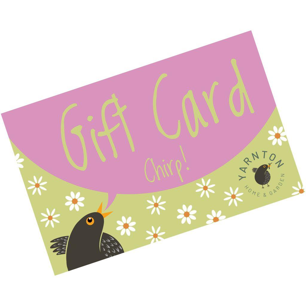An illustration of a Yarnton Gift Card showing Twiggy the blackbird