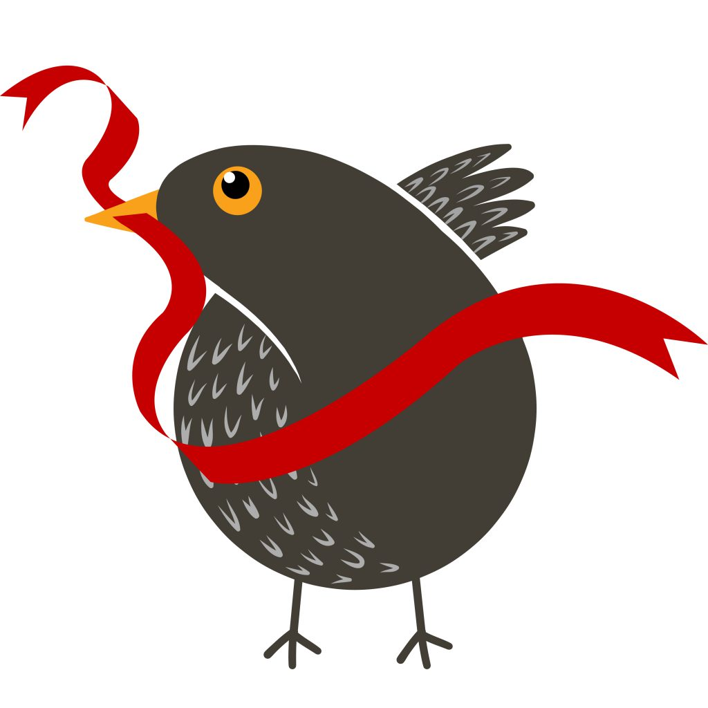 Illustration of Twiggy the blackbird with a red ribbon in its beak
