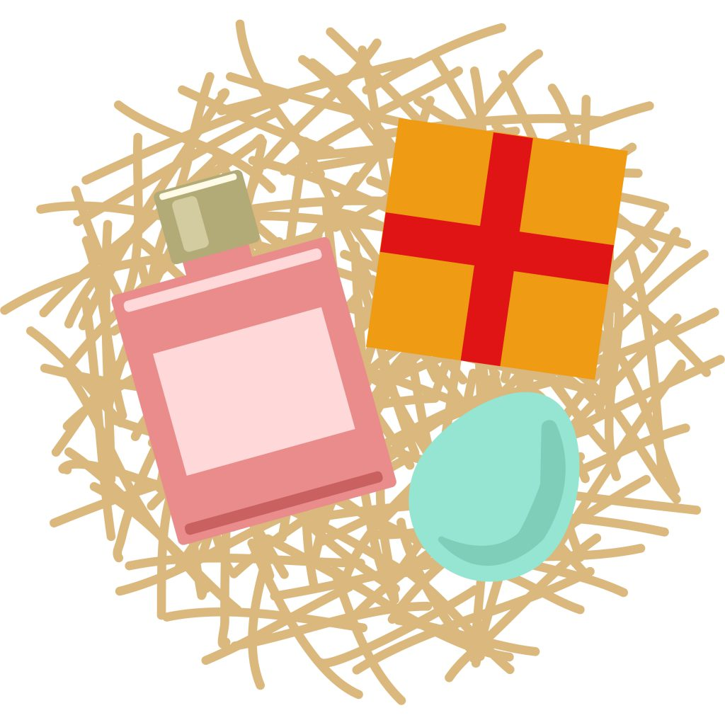 A graphic illustration of items on straw ready for a gift hamper