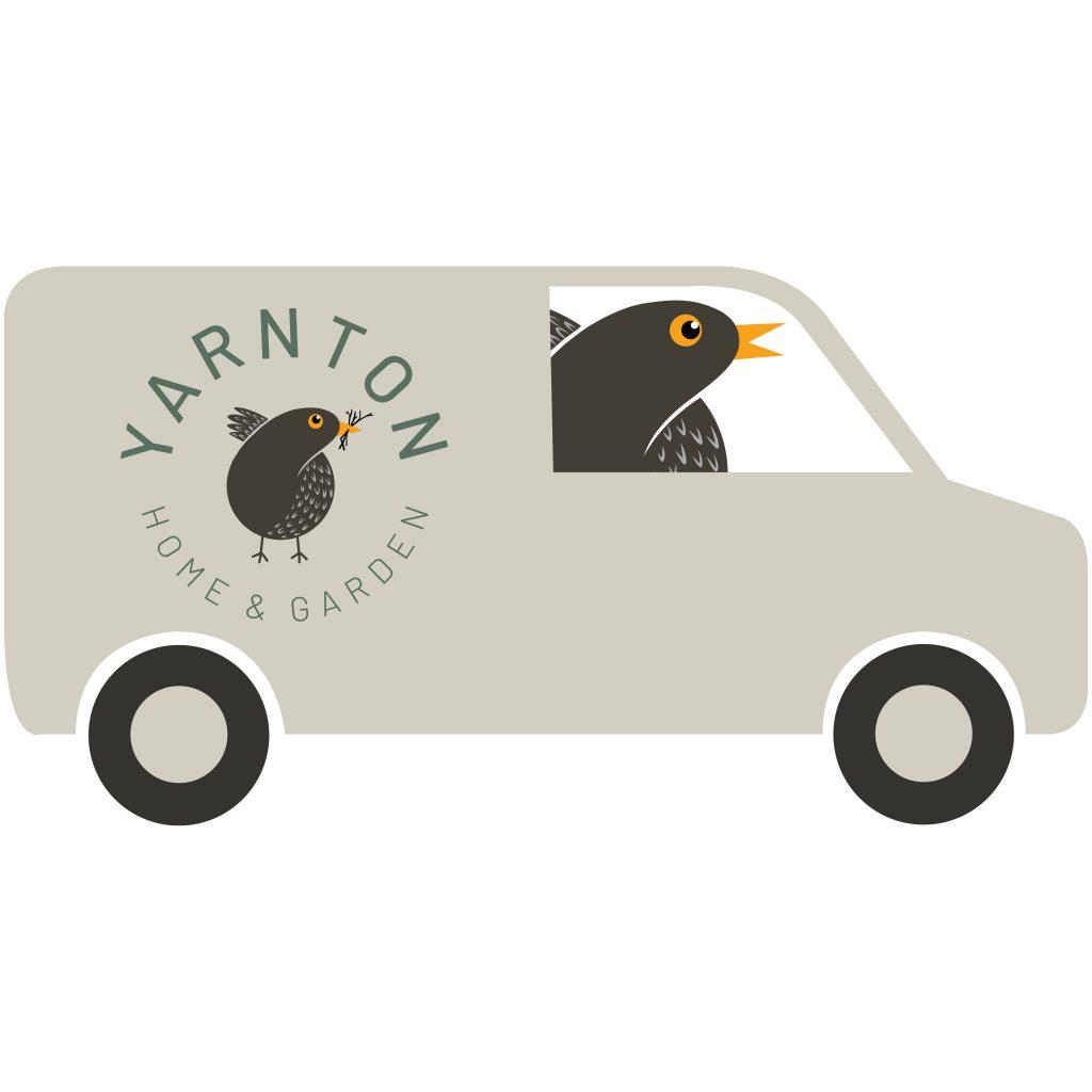 Illustration of Twiggy the blackbird driving a Yarnton delivery van