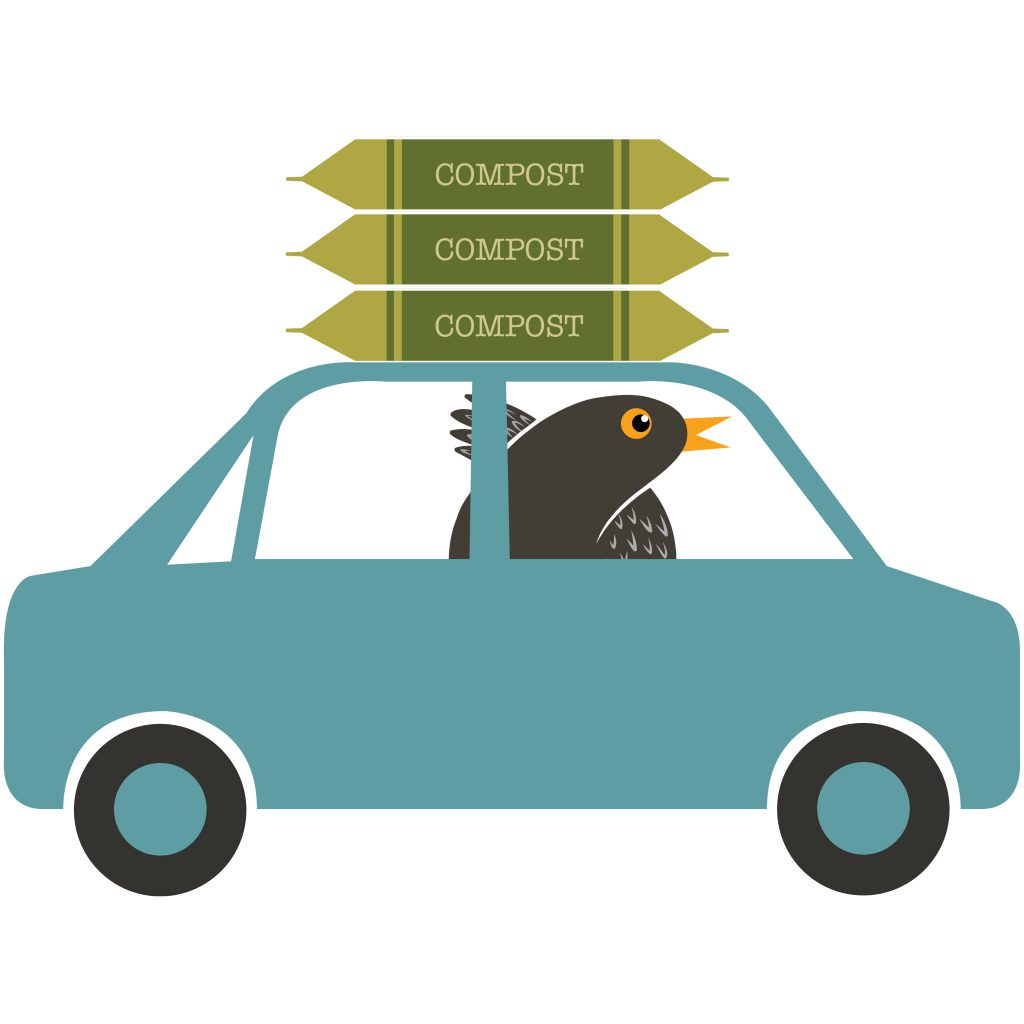 Illustration of Twiggy in a car with compost on the roofrack