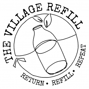 Black & White Logo of The Village Refill showing a bottle floating in water